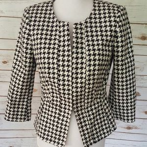 White House Black Market Houndstooth Blazer Sz 14